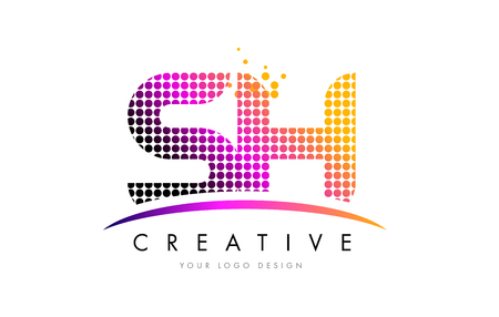 sh: SH S H Dots Letter Logo Design with Magenta Bubble Circles and Swoosh