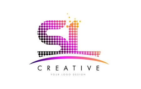 SL S L Dots Letter Logo Design with Magenta Bubble Circles and Swoosh Logo
