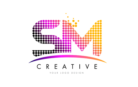 SM S M Dots Letter Logo Design with Magenta Bubble Circles and Swoosh Ilustrace