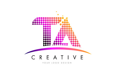 TA T A Dots Letter Logo Design with Magenta Bubble Circles and Swoosh