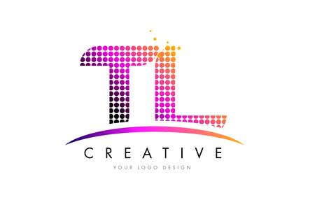 TL T L Dots Letter Logo Design with Magenta Bubble Circles and Swoosh