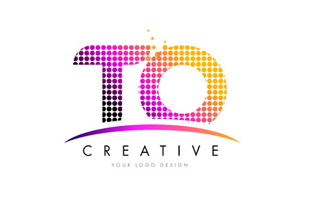 TO T O Dots Letter Logo Design with Magenta Bubble Circles and Swoosh