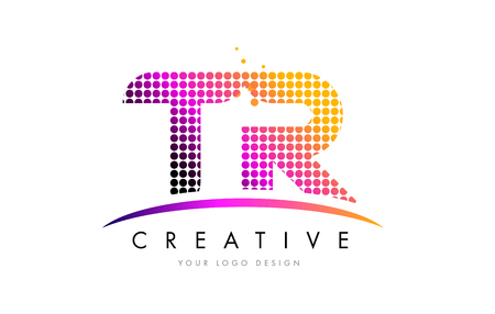 TR T R Dots Letter Logo Design with Magenta Bubble Circles and Swoosh