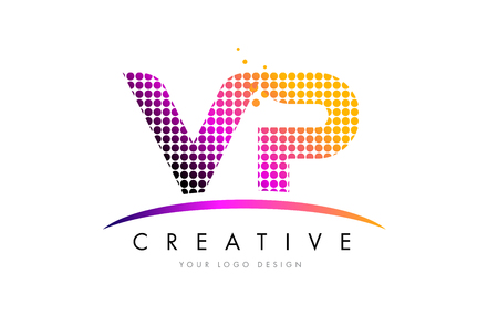 vp: VP V P Dots Letter Logo Design with Magenta Bubble Circles and Swoosh Illustration