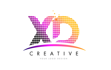 XD X D Dots Letter Logo Design with Magenta Bubble Circles and Swoosh Illustration
