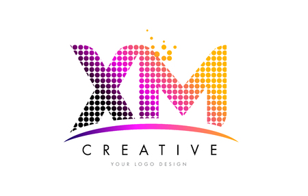 xm: XM X M Dots Letter Logo Design with Magenta Bubble Circles and Swoosh Illustration