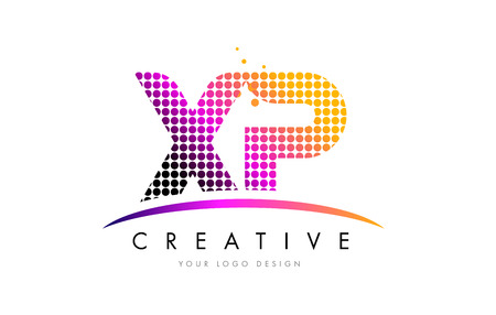 XP X P Dots Letter Logo Design with Magenta Bubble Circles and Swoosh Illustration