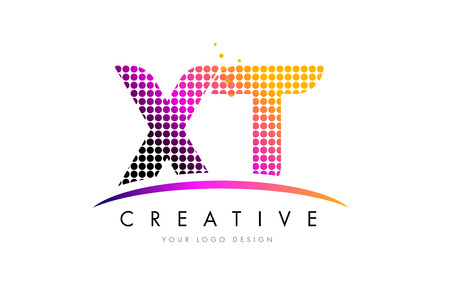 XT X T Dots Letter Logo Design with Magenta Bubble Circles and Swoosh