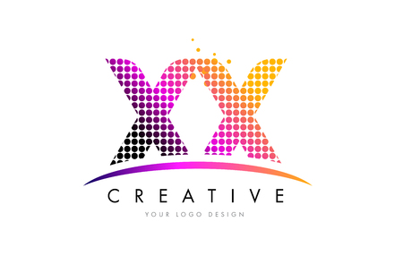 XX X X Dots Letter Logo Design with Magenta Bubble Circles and Swoosh