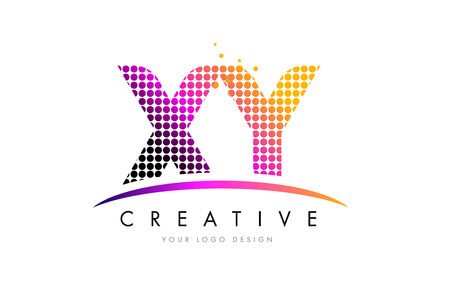 xy: XY X Y Dots Letter Logo Design with Magenta Bubble Circles and Swoosh