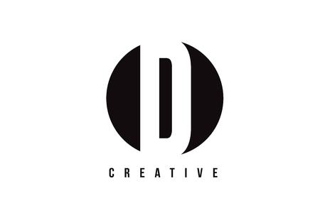 D White Letter Logo Design with Circle Background Vector Illustration Template. Logo