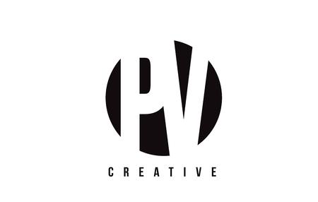 PV P V White Letter Logo Design with Circle Background Vector Illustration Template.
