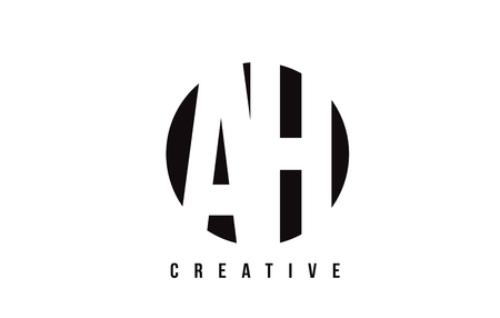 AH A H White Letter Logo Design with Circle Background Vector Illustration Template. Illustration