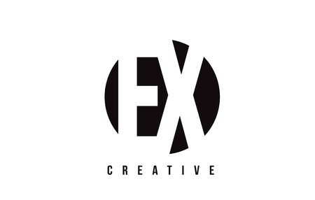 ex: EX E X White Letter Logo Design with Circle Background Vector Illustration Template.