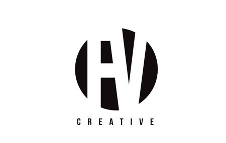 fv: FV F V White Letter Logo Design with Circle Background Vector Illustration Template. Illustration