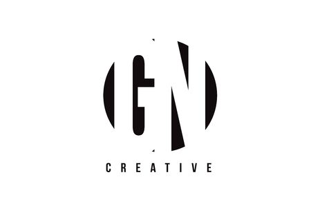 GN G N White Letter Logo Design with Circle Background Vector Illustration Template.