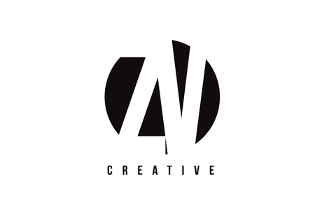 ZV Z V White Letter Logo Design with Circle Background Vector Illustration Template.