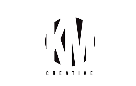 KM K M White Letter Logo Design with Circle Background Vector Illustration Template.