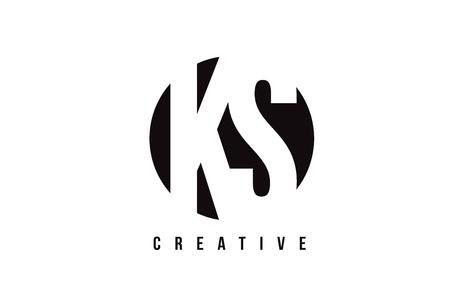 KS K S White Letter Logo Design with Circle Background Vector Illustration Template.