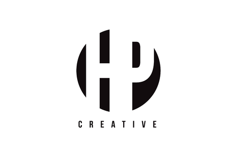 HP H P White Letter Logo Design with Circle Background Vector Illustration Template.