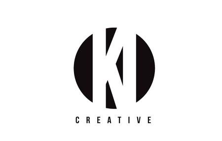 KI K I White Letter Logo Design with Circle Background Vector Illustration Template. Illustration