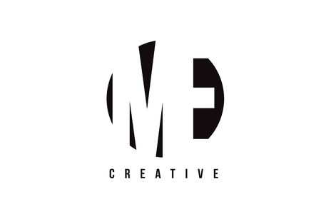 ME M E White Letter Logo Design with Circle Background Vector Illustration Template.