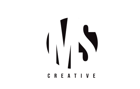MS M S White Letter Logo Design with Circle Background Vector Illustration Template.