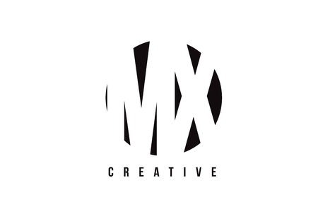 mx: MX M X White Letter Logo Design with Circle Background Vector Illustration Template.
