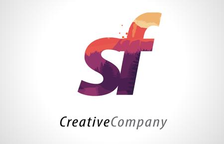 SF S F Letter Logo Design with Purple Orange Forest Texture Flat Vector Illustration.