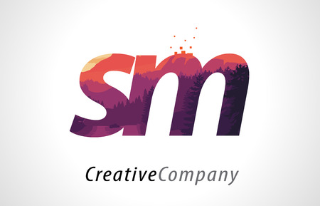 SM S M Letter Logo Design with Purple Orange Forest Texture Flat Vector Illustration.