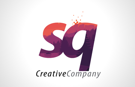 alphabet tree: SQ S Q Letter Logo Design with Purple Orange Forest Texture Flat Vector Illustration.