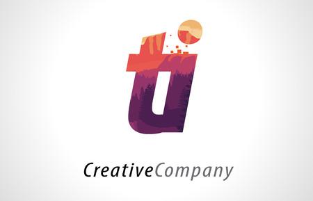 TI T I Letter Logo Design with Purple Orange Forest Texture Flat Vector Illustration. Logó