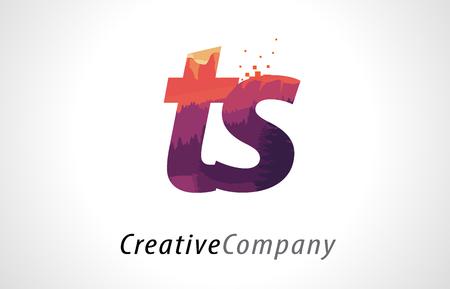 TS T S Letter Logo Design with Purple Orange Forest Texture Flat Vector Illustration.