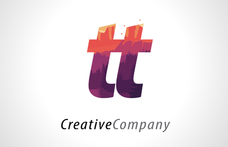 TT T Letter Logo Design with Purple Orange Forest Texture Flat Vector Illustration.