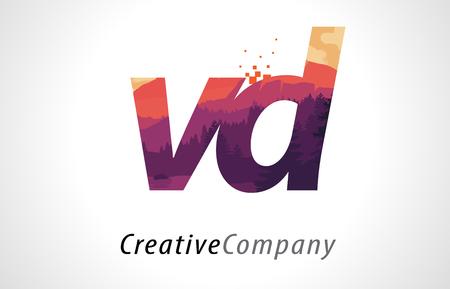 VD V D Letter Logo Design with Purple Orange Forest Texture Flat Vector Illustration.