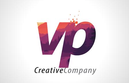 VP V P Letter Logo Design with Purple Orange Forest Texture Flat Vector Illustration.