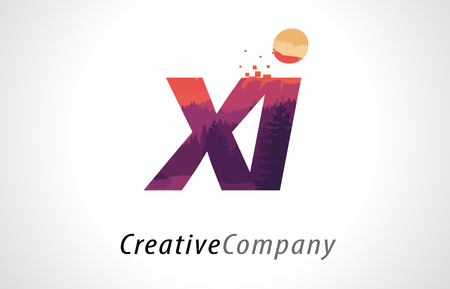 alphabet tree: XI X I Letter Logo Design with Purple Orange Forest Texture Flat Vector Illustration.