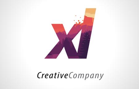XL X L Letter Logo Design with Purple Orange Forest Texture Flat Vector Illustration. Illustration