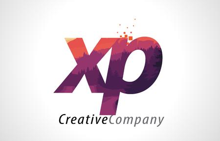 XP X P Letter Logo Design with Purple Orange Forest Texture Flat Vector Illustration.