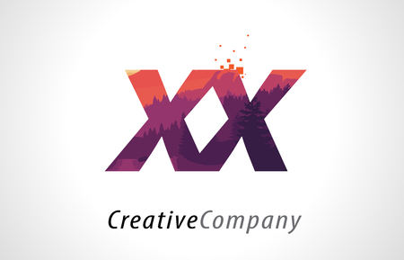 XX X X Letter Logo Design with Purple Orange Forest Texture Flat Vector Illustration.