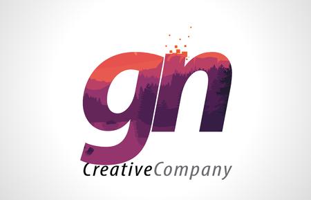 GN G N Letter Logo Design with Purple Orange Forest Texture Flat Vector Illustration. Logó