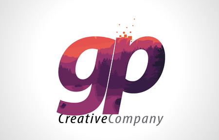 GP G P Letter Logo Design with Purple Orange Forest Texture Flat Vector Illustration. Illustration