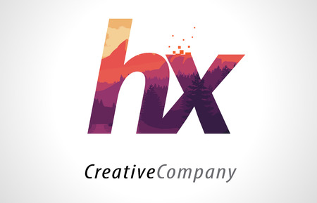 HX H X Letter Logo Design with Purple Orange Forest Texture Flat Vector Illustration.