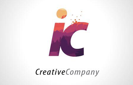 IC I C Letter Logo Design with Purple Orange Forest Texture Flat Vector Illustration.