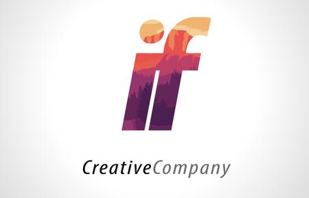 パープル オレンジ フォレスト テクスチャー平面ベクトル図とロゴデザインの手紙 I F 場合。