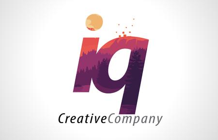 IQ I Q Letter Logo Design with Purple Orange Forest Texture Flat Vector Illustration.