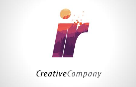 IR I R Letter Logo Design with Purple Orange Forest Texture Flat Vector Illustration.