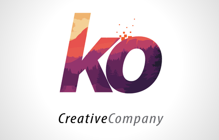 alphabet tree: KO K O Letter Logo Design with Purple Orange Forest Texture Flat Vector Illustration.
