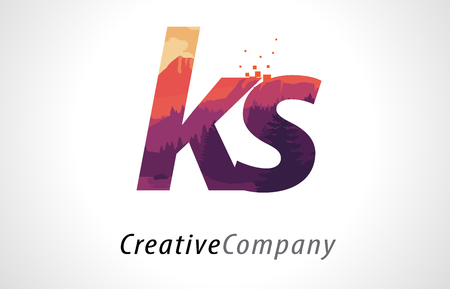 KS K S Letter Logo Design with Purple Orange Forest Texture Flat Vector Illustration.