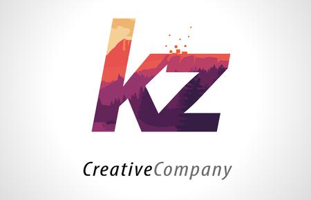 kz: KZ K Z Letter Logo Design with Purple Orange Forest Texture Flat Vector Illustration.